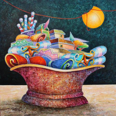 Art work by Francesco Nesi Il cipressino rosa - oil table