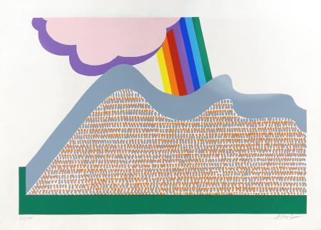 Quadro di firma Illeggibile Nuvole e arcobaleno - serigrafia carta