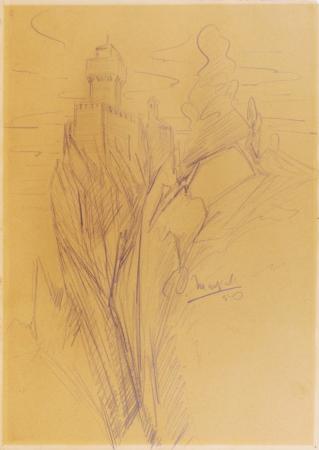Quadro di Oscar Marziali Castello - grafite carta gialla