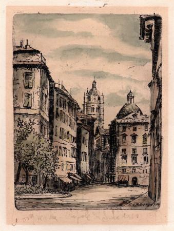 Quadro di Renzo  Cordiviola Genova Vecchia - Cupola di S. Lorenzo - acquerello carta gialla