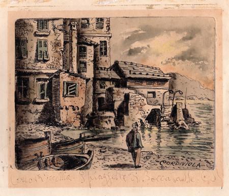 Art work by Renzo  Cordiviola Genova Vecchia - Spiaggetta di Boccadasse - watercolor yellow paper