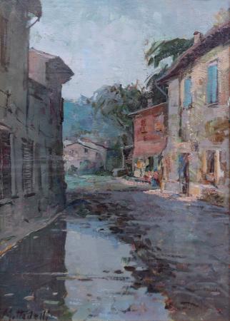 Quadro di Giuseppe Mottadelli Dopo la pioggia - olio tavola