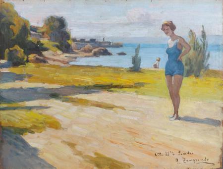 Quadro di Giovanni Zangrando Fanciulle in spiaggia - olio tavola