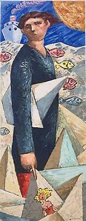 Quadro di Giampaolo Talani Un uomo, Le barche del viaggio - litografia polimaterica cartone