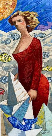 Quadro di Giampaolo Talani Una donna, Le barche del viaggio - litografia polimaterica cartone