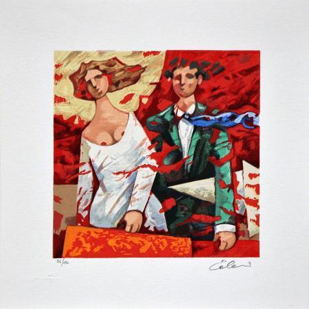 Quadro di Giampaolo Talani Partenze rosse - litografia polimaterica carta
