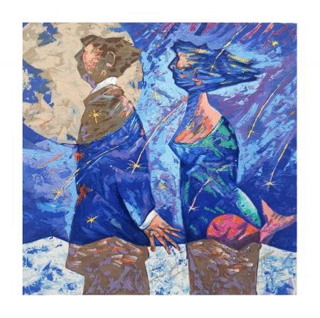 Quadro di Giampaolo Talani Notte di San Lorenzo - litografia polimaterica carta
