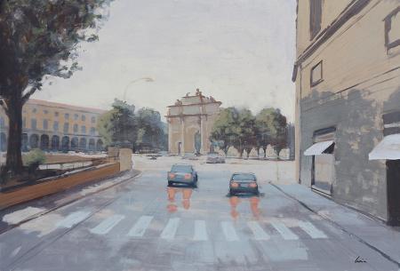 Quadro di Claudio Cionini Piazza della Libertà - mista cartone su faesite