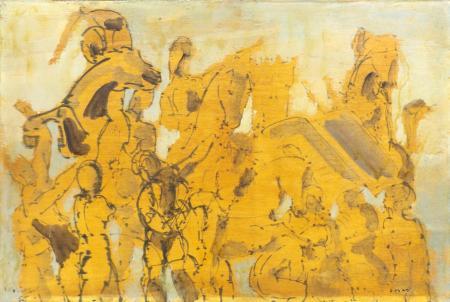 Quadro di Lazzaro Donati Battaglia equestre - olio tavola