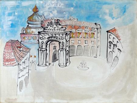Art work by Lazzaro Donati Piazza Cavour - oil canvas