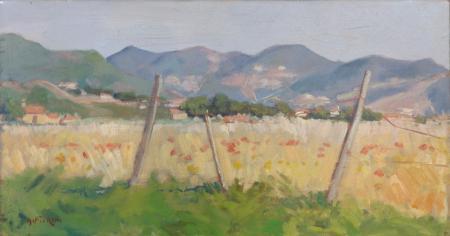 Art work by G. Fiorini Campo di fieno - oil canvas