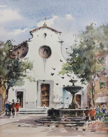 Quadro di Giuseppe Capineri S. Spirito - acquerello carta