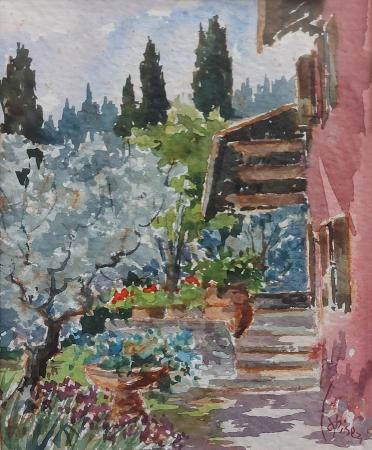 Art work by Giuseppe Capineri Casa rossa - watercolor paper