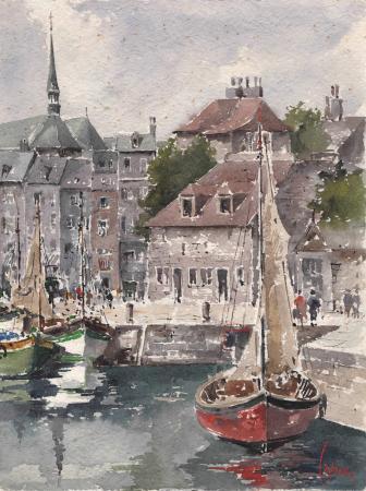 Art work by Giuseppe Capineri Il ponte di Honfleut - Normandia - watercolor paper
