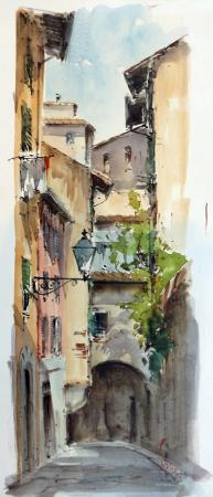 Art work by Giuseppe Capineri Vicolo a Firenze - watercolor paper