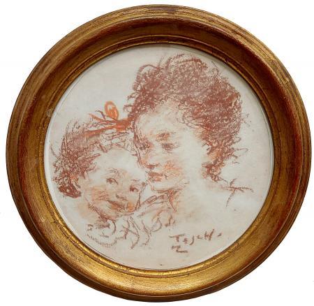 Quadro di Ermanno Toschi  Maternità - sanguigna carta