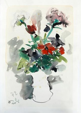 Art work by Bruno Paoli Vaso di fiori - watercolor paper