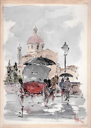 Quadro di Giuseppe Capineri Piazza Cestello - acquerello cartone
