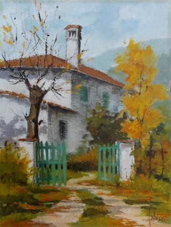 Quadro di Giuseppe Capineri Casa allo stecco - olio tela