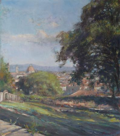 Quadro di Mario Minarini Firenze dal giardino Bardini - olio tavola