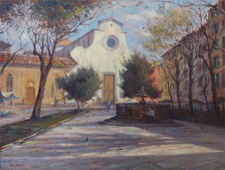 Quadro di Mario Minarini Piazza Santo Spirito - olio tavola