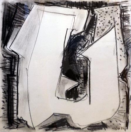 Quadro di Gualtiero Nativi Composizione - grafite carta su tavola