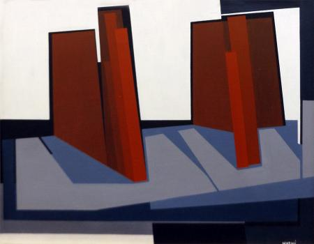Quadro di Gualtiero Nativi Composizione - olio tavola
