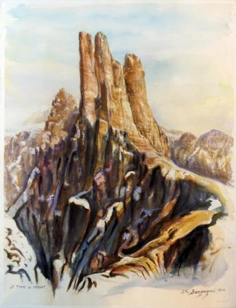 Quadro di Elio Bargagni Le torri Vasolet - acquerello carta ad alta grammatura