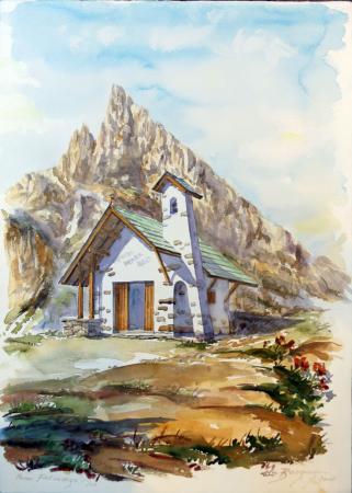Quadro di Elio Bargagni Passo Falzarego - acquerello carta ad alta grammatura