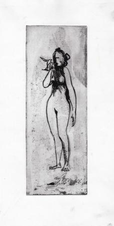 Art work by firma Illeggibile La donna e il volatile - incision paper