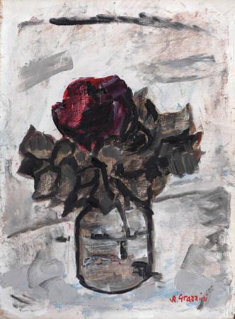 Quadro di Renzo Grazzini Vaso con rosa - olio tavola