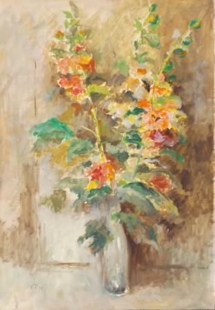 Quadro di P. V. Vaso di fiori - tempera carta