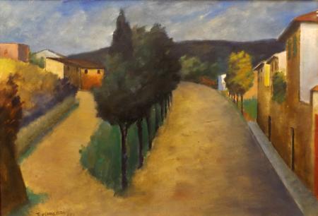 Quadro di Nino Tirinnanzi Paesaggio Grevigiano - olio tavola