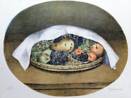 Quadro di Nino Tirinnanzi Cesto di frutta - litografia carta