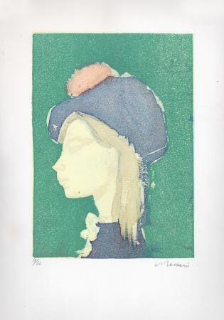 Art work by Mino Maccari Fanciulla con cappello - lithography paper