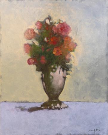 Quadro di firma Illeggibile Vaso di fiori rossi - olio tela