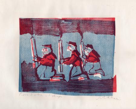 Quadro di Mino Maccari Tre uomini - xilografia carta