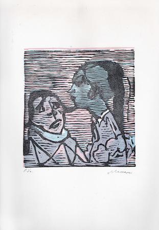 Quadro di Mino Maccari Figure - xilografia carta
