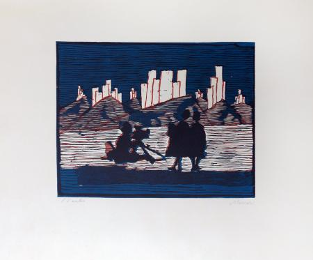 Art work by Mino Maccari Figure - xylograph paper