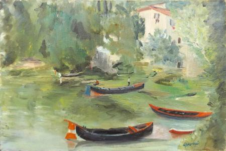 Quadro di Marcella Castelli L'Arno a Compiobbi - Pittori contemporanei galleria Firenze Art