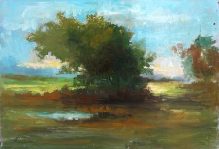 Quadro di Paolo Chellini Paesaggio con alberi - olio faesite