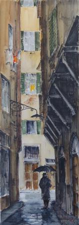 Quadro di Giuseppe Capineri Vicolo di Firenze - Pittori contemporanei galleria Firenze Art