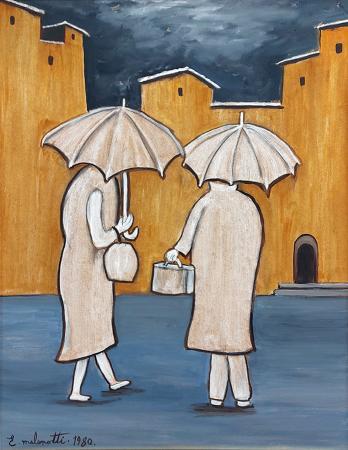 Quadro di Emilio Malenotti Sotto la pioggia - olio faesite