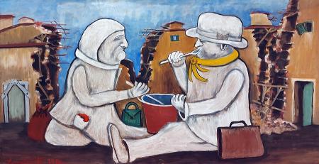 Art work by Emilio Malenotti La zuppa - oil hardboard
