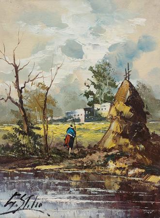 Quadro di S. Stilio Paesaggio - olio tavola