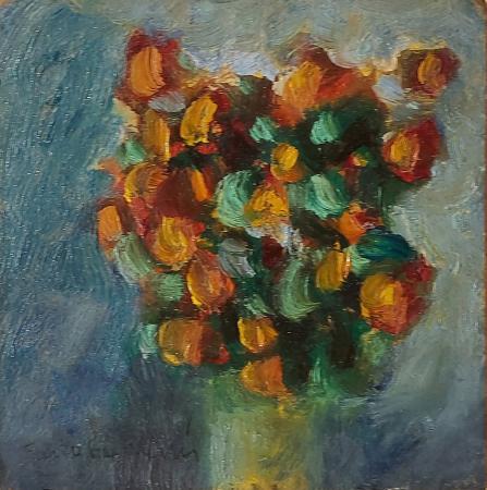 Quadro di Furio Cavallini  Vaso di fiori - olio tavola