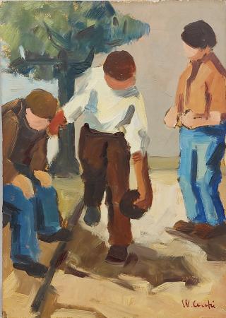Quadro di Walter Cecchi Al muretto - olio tavola