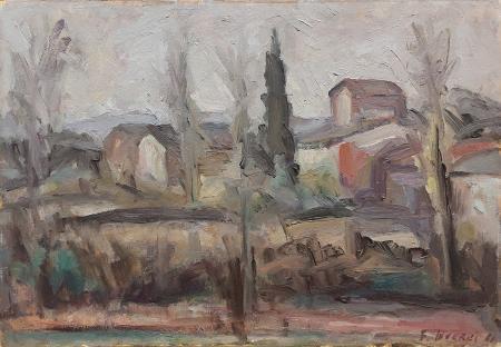 Quadro di F. Inverni Paesaggio con case - Pittori contemporanei galleria Firenze Art
