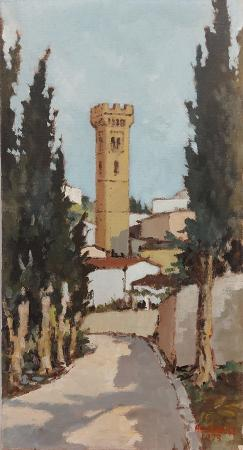 Quadro di Ugo Bini Scorcio Fiesolano - olio tela
