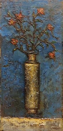 Quadro di Leonardo Papasogli Vaso di fiori rossi - olio cartone